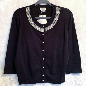 Kate Spade Black Tula Embellished Cardigan Size L